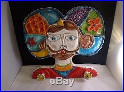 DeSimone Italian Pottery Vintage Hand painted WALL PLAQUE Italy De Simone HOOKS