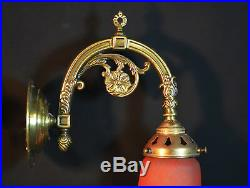 Deco brass vintage antique wall light sconce handmade French glass lamp shade