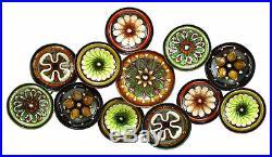 Decorative Vintage Tuscan Floral Plates Metal Wall Sculpture Plaque Home Decor