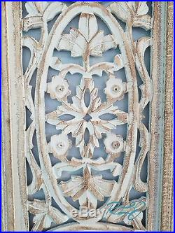 Decorative Vintage Tuscan White-Washed Wood Wall Art Panel Plaque Home Decor NEW