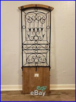 Distressed Rustic Wood Metal Scrolling Vintage Garden Gate Door Wall Panel Decor
