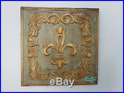 Distressed Vintage French Country Old World Set/4 Metal Wall Plaques Home Decor