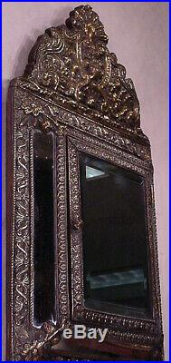 Dutch antique Vintage Ornate Brass Hall Mirror Brushes wall glass copper cabinet