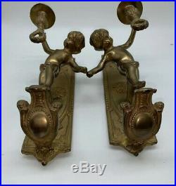 ESTATE antique/vintage Bronze/Brass CHERUB ANGELS Sconces WALL candle holders