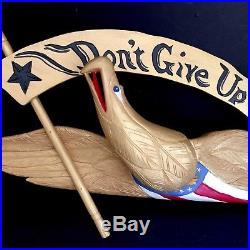 Eagle Carved Wood 24 Folk Art Don't Give Up The Ship Vtg Patriotic Wall Plaque