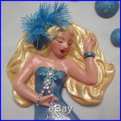 Elegant BLING Sister DIVA Mermaid Wall Plaque Hanging Set Vintage & Retro Bath