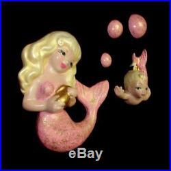 Elegant Pink Mermaid Wall Plaque Hanging Set w Bubbles for Vintage Bath