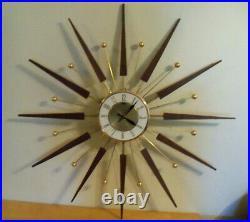 Elgin Starburst Atomic Working Wall Clock Mid Century, Walnut Wood