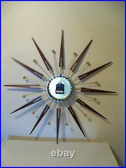 Elgin/Welby Starburst Atomic Working Wall Clock Mid Century, Walnut Wood
