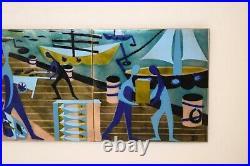 Enamel tile artwork wall plaque Judith Daner vintage mid century Modern