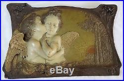 Ernst Wahliss vintage Art Nouveau antique cherub large ceramic wall plaque