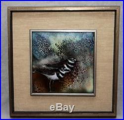 Estate Vintage Lg Norman Brumm Framed Enamel Wall Plaque Shorebirds Killdeer