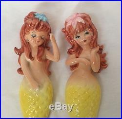 Fab Mermaid Lady Wall Plaque Figurine Porcelain Ceramic Lefton Japan Vtg Lot