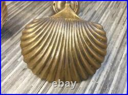 Fabulous Pair Of Vintage Jim Lawrence Brass Shell Wall Lights Model 3124 Superb
