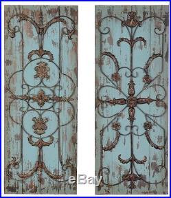 Farmhouse Wall Plaque Set 2 Piece Vintage Wood Metal Distressed Blue Shabby Chic