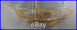 Fine Vintage 1982 Curtis Jere Large Brass Boat Nautical Wall Table Sculpture