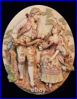 Framed Set Antique Vintage Porcelain Bisque Courting Couple Wall Plaques