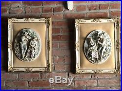 Framed Set Antique Vintage Porcelain Bisque HP 3d Courting Couple Wall Plaque