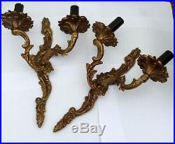 French Pair vintage Rococo Louis XV style Bronze/Brass double wall light sconce
