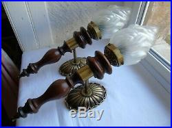 French a pair of wall light sconces vintage glass wood bronze brass