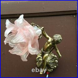 French bronze putti Wall Sconce Angel Pink Tulip Brass Vintage Light Fixture