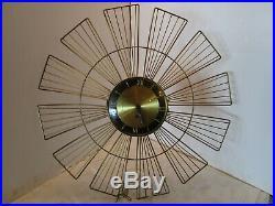 GERMANY SUNBURST Wind up Wall Gold Tone Brass Clock with Key 8 Day Mid Century Vtg