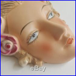 Goebel Antique Woman Lady Flapper Face Wall Mask Plaque VTG Art Deco Blonde