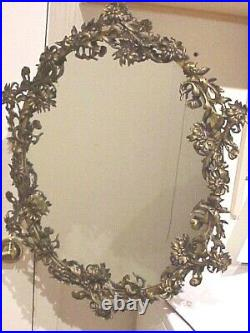 Gorgeous! Vintage Antique 23 X 18 Ornate Brass Floral Framed Wall Mirror
