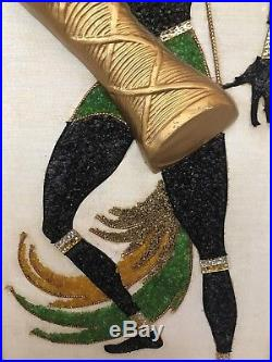 Gravel Art Tribal Dancers Wood Wall Hangings Plaque MCM Vtg Pair Mosaic Tall 3D
