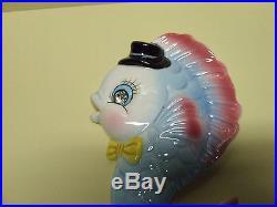 HTF/Vintage Ucagco Mr. & Mrs. Fish withRhinestone Eyes Wall Plaques (PY)
