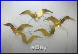 HUGE Signed Curtis Jere Brass Seagull BIRDS Wall Sculpture 60 Vintage 1985 MOD