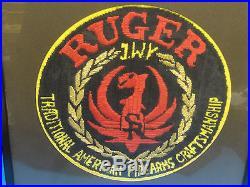 HUGE VINTAGE 50s RUGER EMBLEM LOGO EMBROIDERED WALL PLAQUE 15