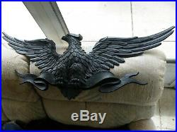 HUGE Vtg Sexton American Eagle Black Metal Wall Plaque Approx. 40 W x 14 T