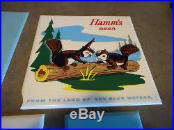 Hamms beer Bear advertising sign set plastic vtg gas oil man cave wall plaque