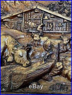 Hand CARVED WOOD Farm Scene Wall Plaque DETAILED FOLK ART 3D Italy Vintage