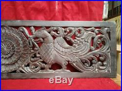 Hand Carved Peacock Wall Panel Wooden Plaque Vintage Estate panel Home Decor US