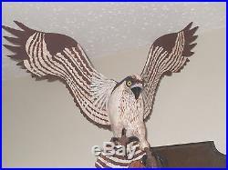 Hand Carved Vtg Wood OSPREY BIRD Sculpture Statue Wall Plaque By George Hansen