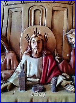 Hand Carved Wood Jesus Last Supper Large Plaque Wall Hanging Relief Apostles Vtg