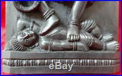 Hindu God Durga Kali Vintage Wall Panel Statue Sculpture Plaque Rare Home Decor