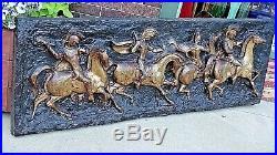 Hollywood Regency Vintage MCM Roman Horse gladiator Sculpture Wall Plaque signed