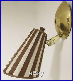 Home Or Vintage Camper MID Century Modern Teak Wall Lamps Wooden Strip Shades