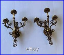 Huge Pair Vintage Antique Spanish Brass Three Arm Wall Sconces 20Tall X14 Wide