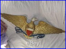 Huge VINTAGE EAGLE WALL Plaque 40 WINGSPAN RARE Americana WOW