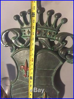 Huge VTG Sexton Crest Coat of Arms Royal Shield Armor Metal Wall Plaque Hanging