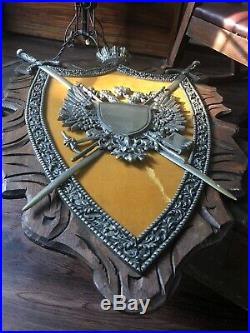 Huge Vintage Shield, Coat Of Arms, Swords, Cast Aluminum, Amazing 41 x 29
