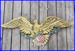 Huge Vintage Syroco AMERICAN EAGLE Shield Patriotic Banner Wall Plaque 45 #3762