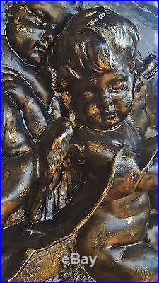 Huge Vtg Renaissance Wall Plaque Frieze Deep Relief Cherubs Putti Bronzed Finish