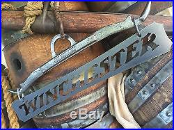 Iron Metal Winchester Sign wall art plaque hunter cabin rustic vintage xmas gift