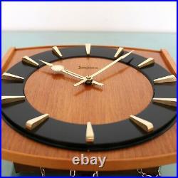 JUNGHANS Vintage Wall Clock LOUDSPEAKER! Chime SPECIALTY 1960s Germany SERVICED