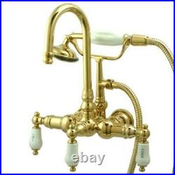 Kingston Brass Wall Mount ClawFoot Tub Faucet With Hand Shower Polished Brass